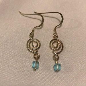 Sliver and light blue earrings